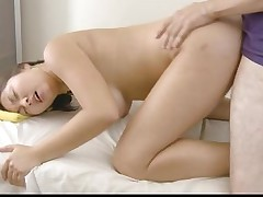 RubATeen Natural tits Asian fucked creampied..