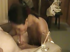 Thai girl blows and drinks cum from straw